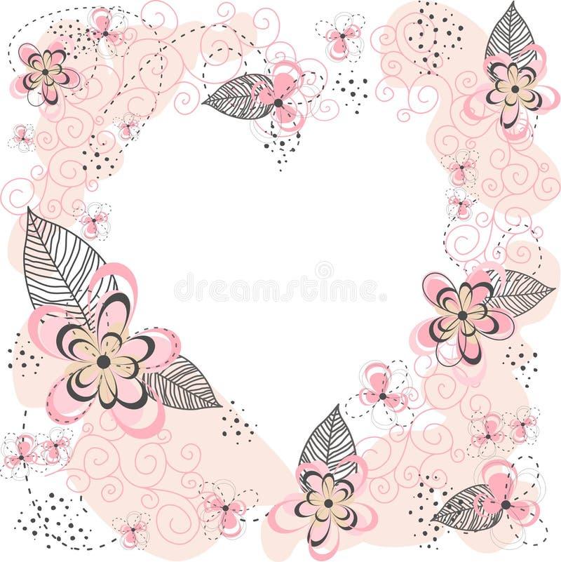 桃红色花卉心脏背景 库存图片