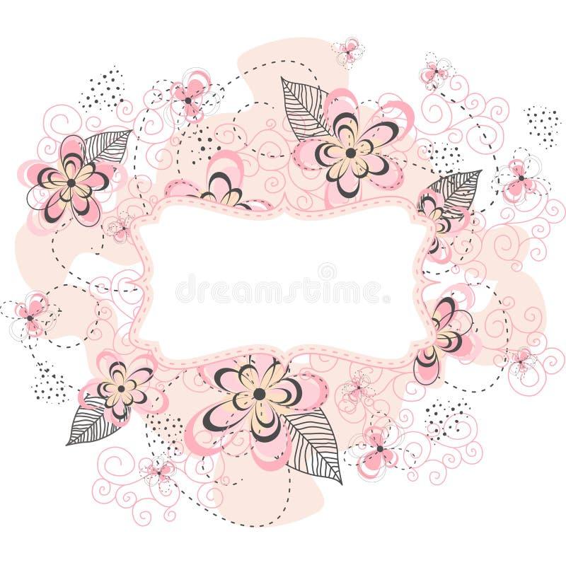 桃红色花卉框架背景 免版税库存照片