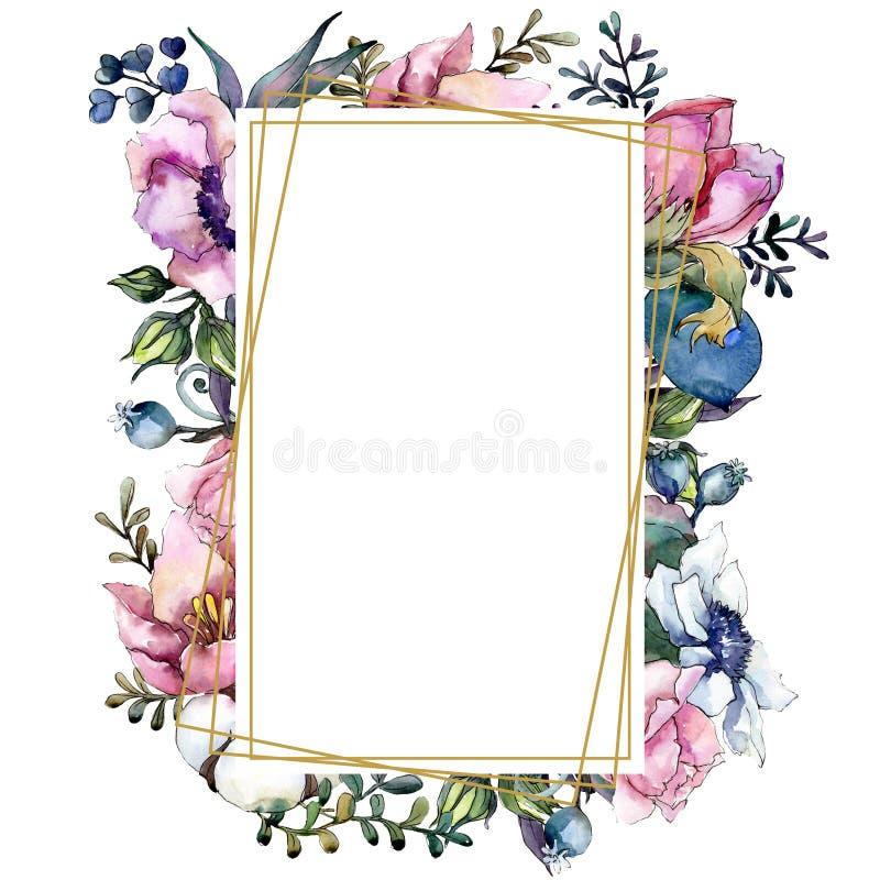桃红色花卉植物的花花束 水彩背景例证集合 框架边界装饰品正方形 向量例证