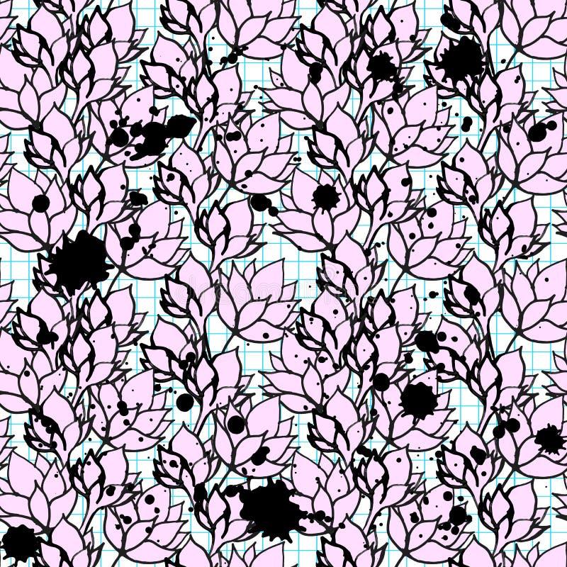 桃红色花卉莲花无缝的样式 库存例证