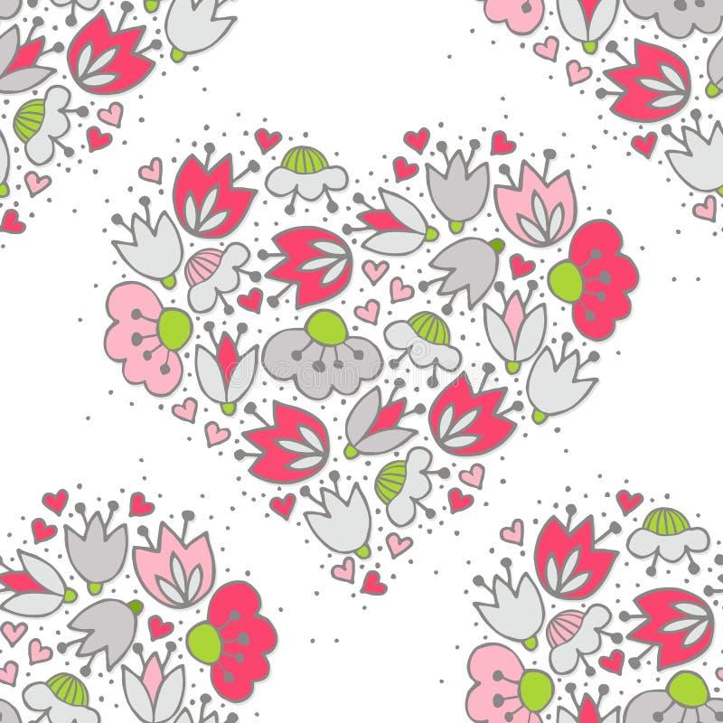 桃红色花和心脏在白色浪漫无缝的样式 库存例证
