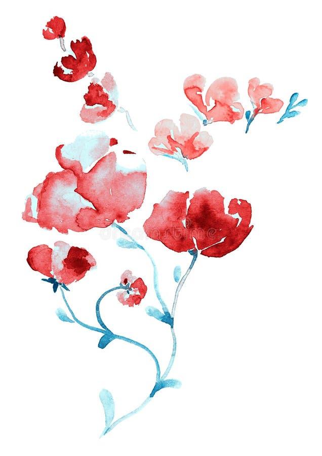 桃红色花和蓝色叶子小树枝  库存例证