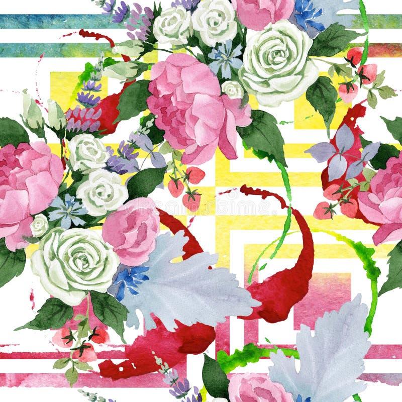 桃红色花束花 花卉植物的花 无缝的背景模式 向量例证