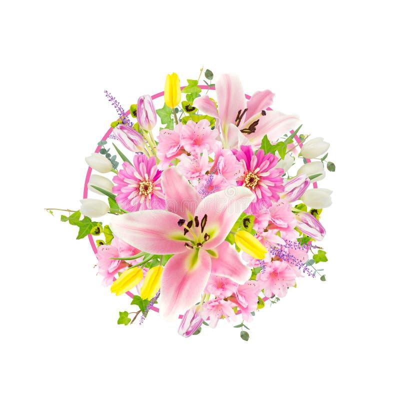 桃红色花的安排 库存照片