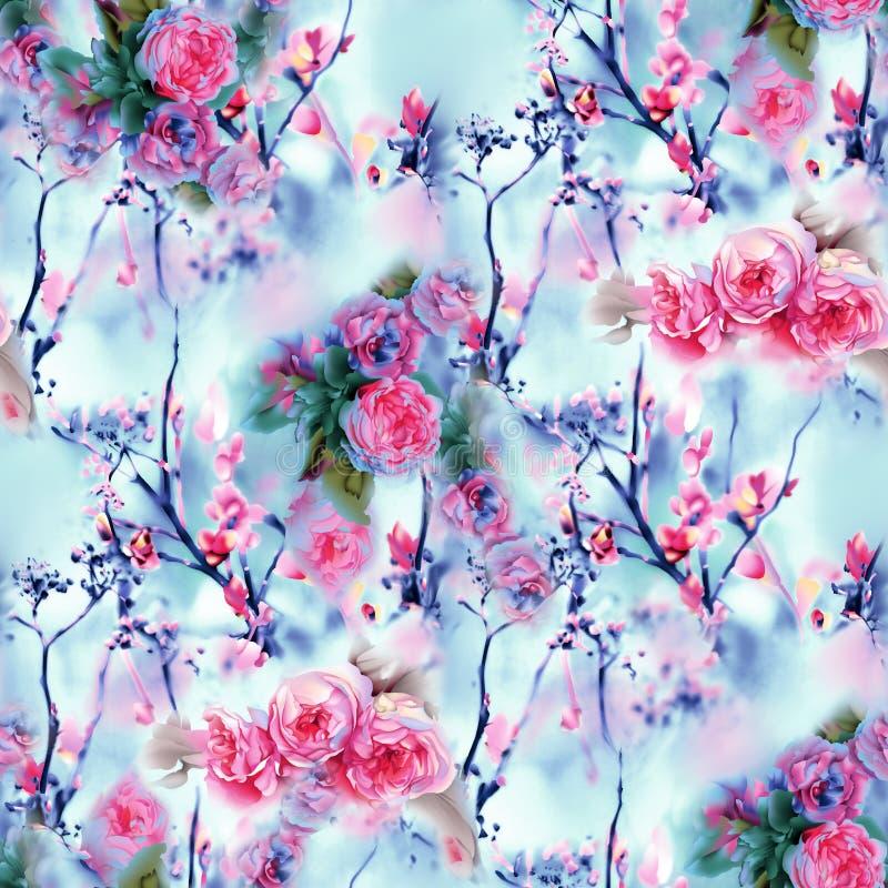 桃红色花的无缝的花卉样式在背景的 皇族释放例证