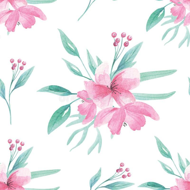 桃红色花纹花样无缝的花卉水彩水色绿色留下叶子莓果绽放 库存例证