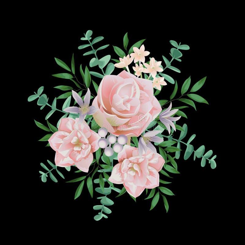桃红色花花束 向量例证