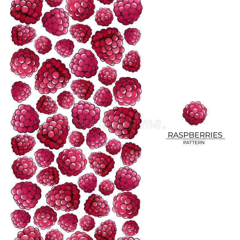 桃红色莓莓果无缝的刷子在白色背景的 皇族释放例证