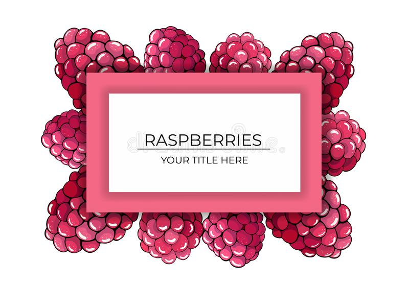 桃红色莓莓果框架在白色背景的与文本的空间 皇族释放例证