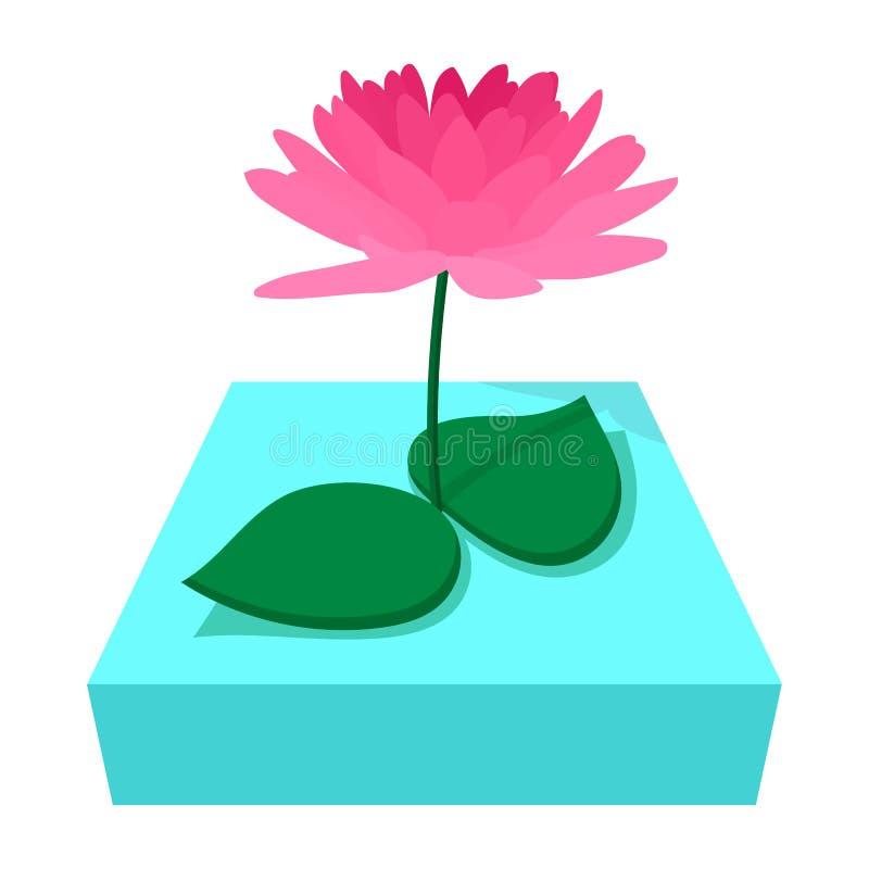 桃红色莲花象,动画片样式 向量例证