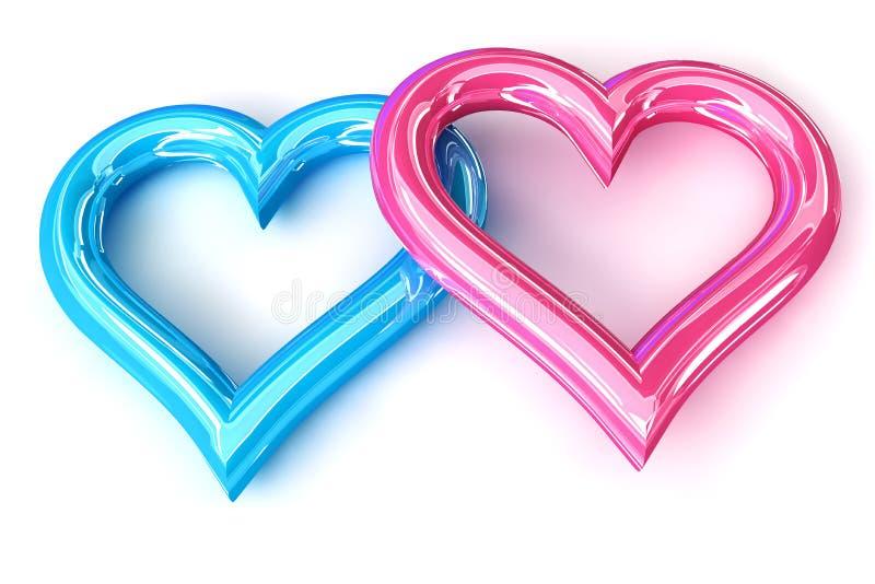 桃红色蓝色心脏 皇族释放例证