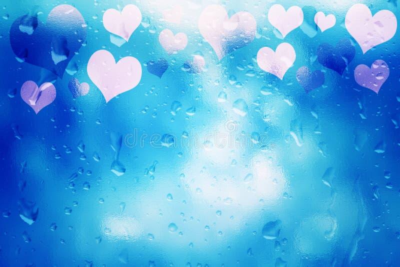 桃红色蓝色抽象玻璃织地不很细心脏背景 库存图片