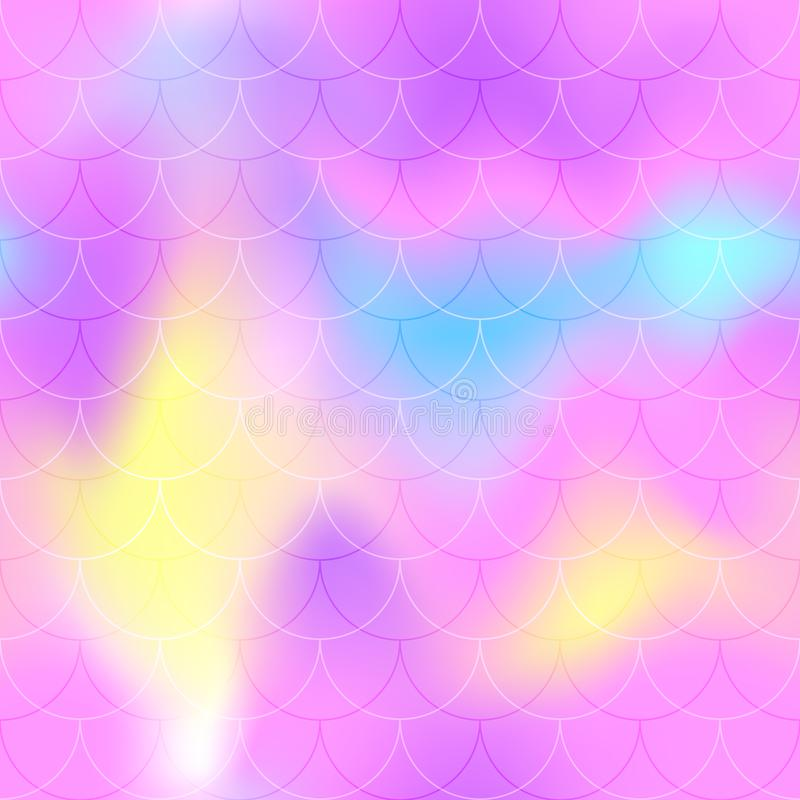 桃红色蓝色黄色美人鱼标度背景 背景明亮呈虹彩 鱼鳞样式 向量例证