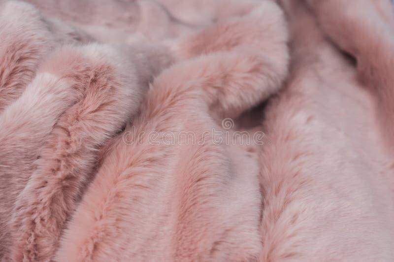 桃红色蓬松格子花呢披肩纹理 免版税库存图片