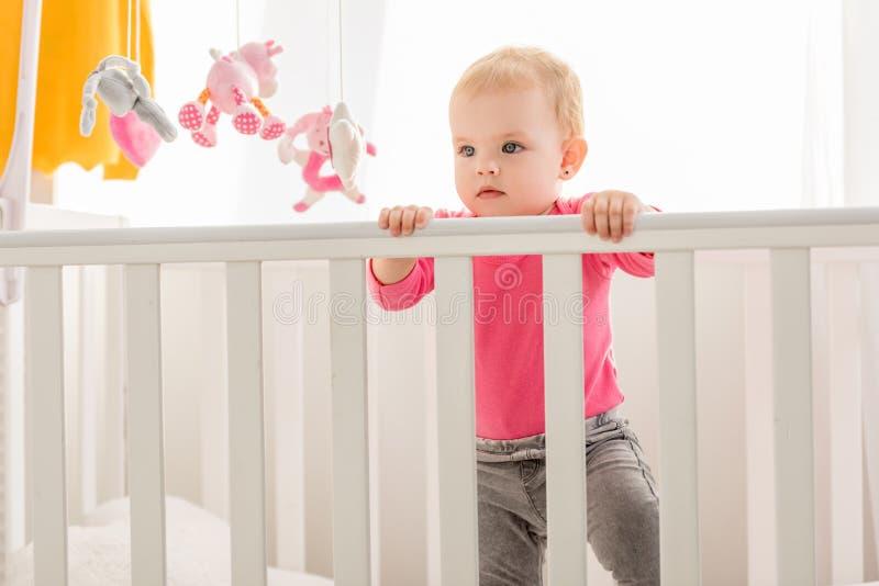 桃红色衬衣身分的可爱的小孩在小儿床和 免版税库存照片