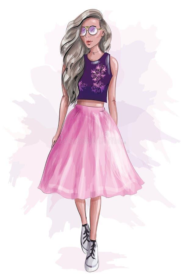 桃红色裙子的时髦的逗人喜爱的女孩 草图 向量例证