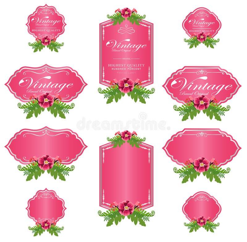 桃红色豪华邀请花标签和空白标签 向量例证