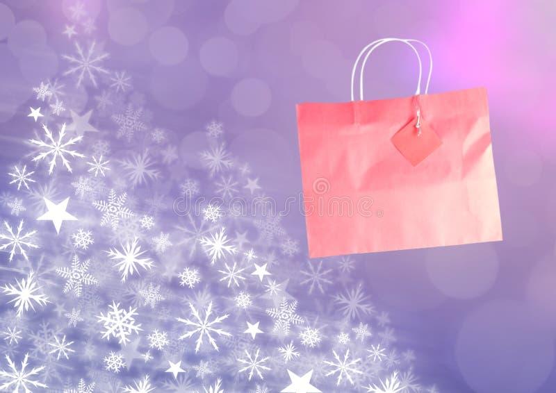 桃红色购物袋和雪花圣诞节样式 库存例证