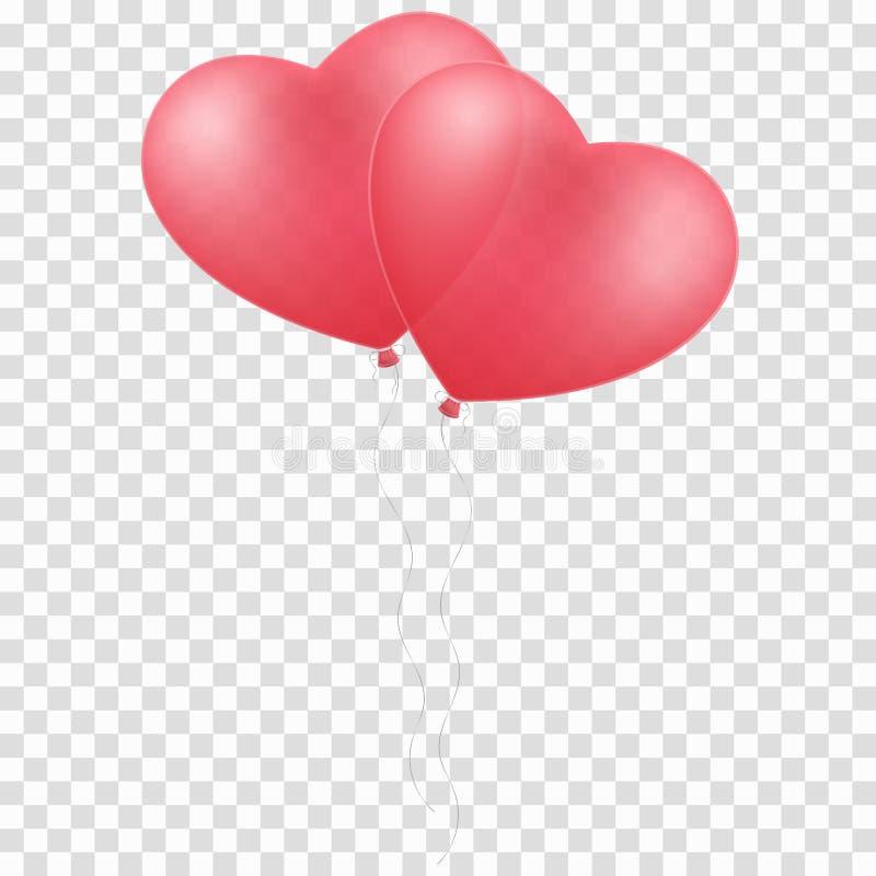 桃红色迅速增加在透明背景隔绝的心脏 婚礼的气球 您的设计的图表元素 愉快的瓦伦蒂 库存例证