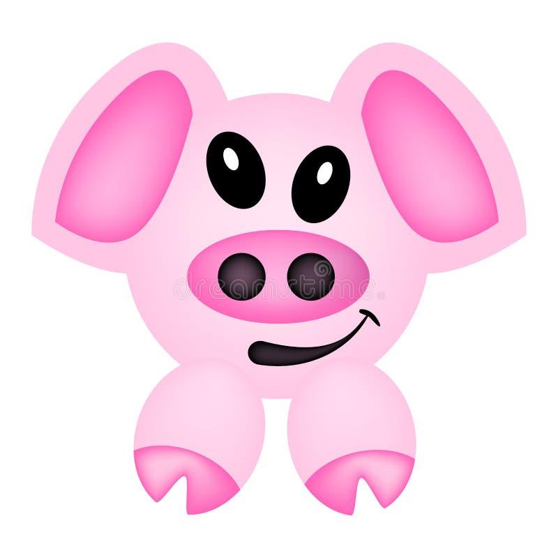 桃红色逗人喜爱的动画片猪 库存例证