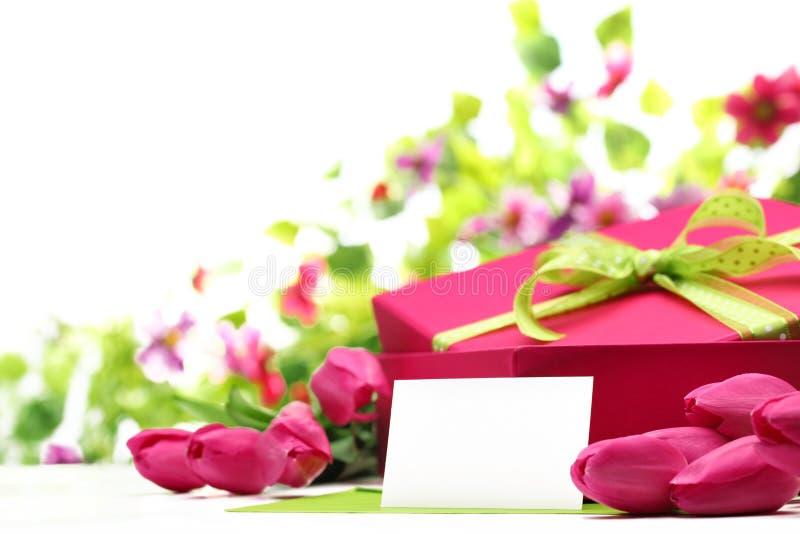 桃红色郁金香、空插件和礼物盒 免版税库存照片