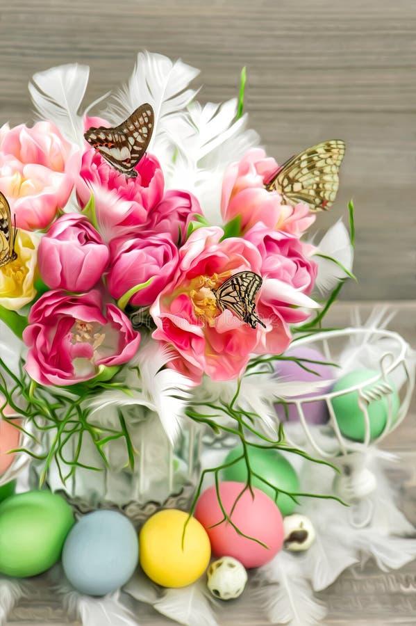 桃红色郁金香开花,蝴蝶,复活节彩蛋 森林横向油画河 免版税图库摄影