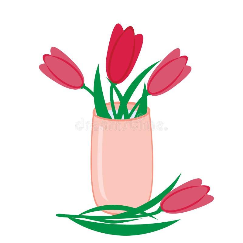 桃红色郁金香花束在花瓶,传染媒介平的被隔绝的例证的 库存例证