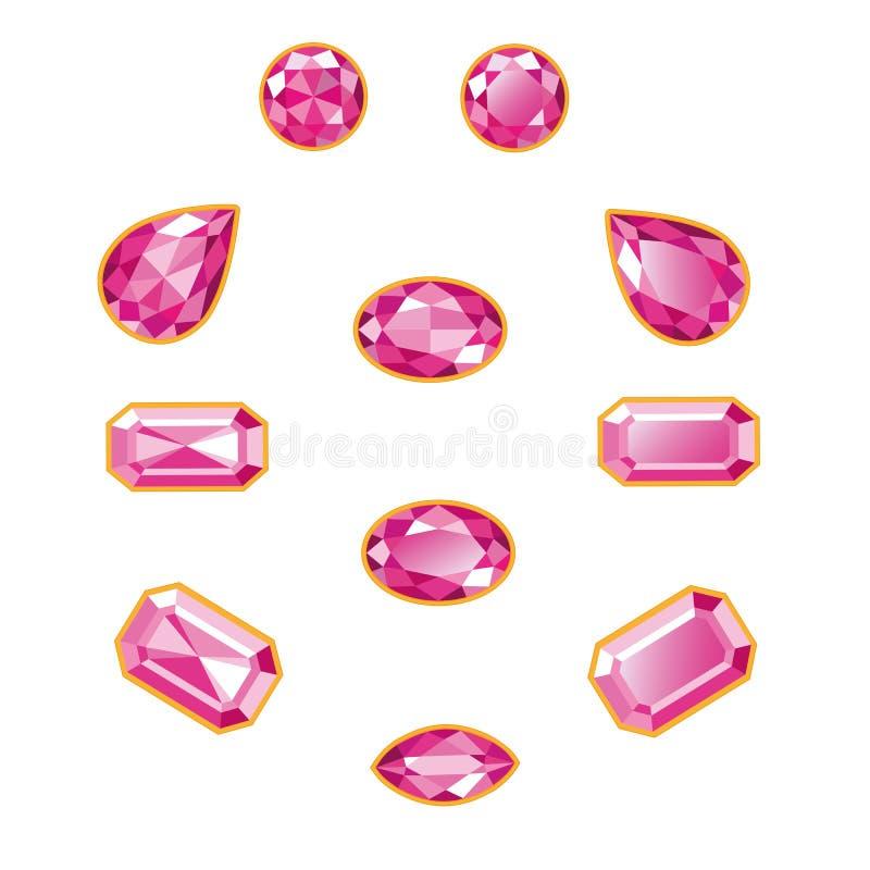 桃红色金刚石集合被隔绝的对象 库存例证