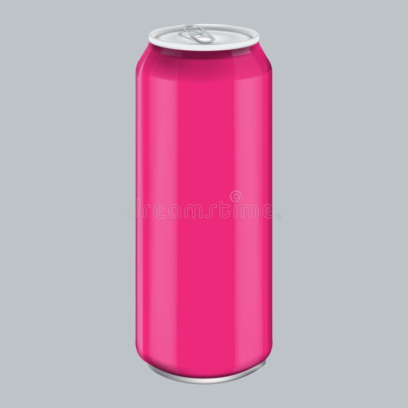 桃红色金属铝饮料饮料 产品包装的大模型 精力充沛的饮料能500ml, 0,5L 皇族释放例证