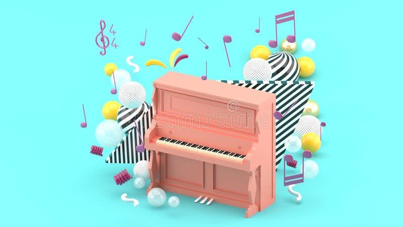 桃红色钢琴由笔记和五颜六色的球围拢在蓝色背景 免版税库存照片