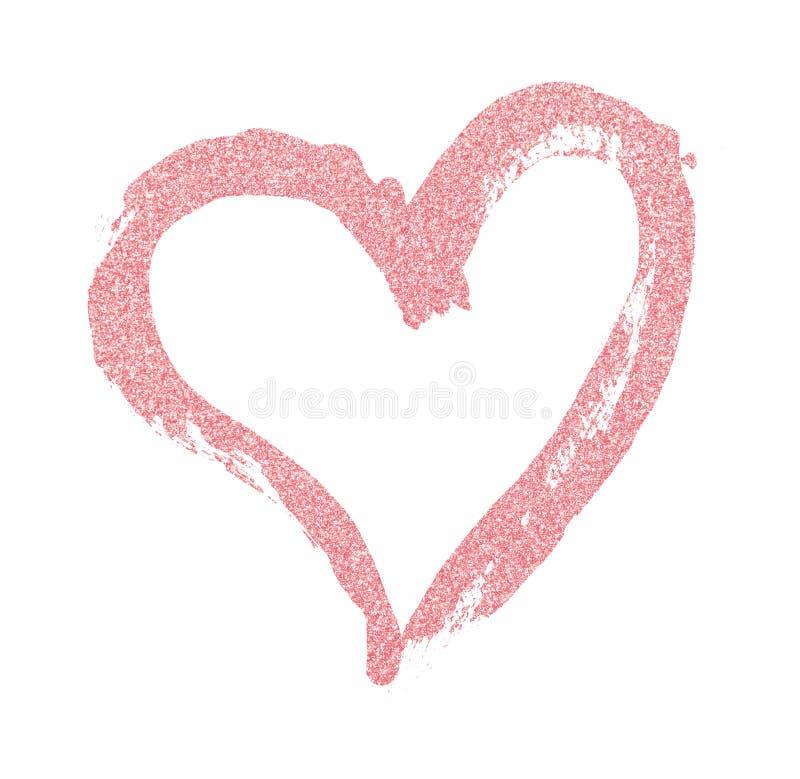桃红色闪烁心脏Closup绘与刷子 免版税图库摄影