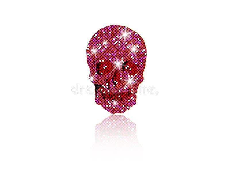 桃红色闪烁的星的发光的头骨 桃红色金刚石头骨元素收藏 停止的日 象标志时尚设计豪华 库存例证