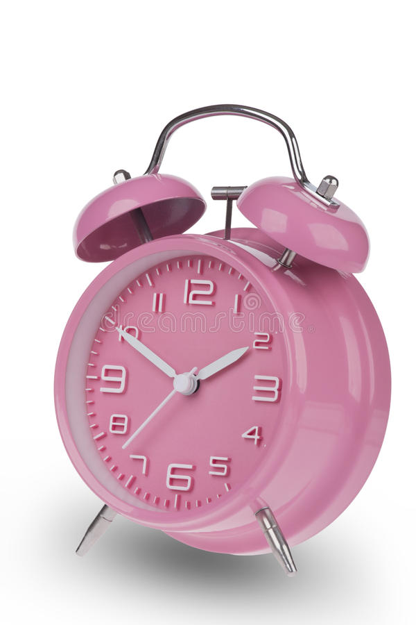 桃红色闹钟用在10和2的手 图库摄影