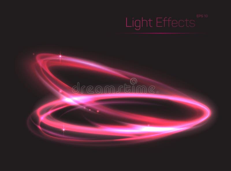 桃红色霓虹长圆形或圈子光线影响的 皇族释放例证