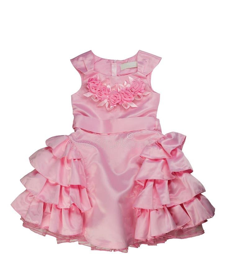 桃红色鞋带婴孩礼服 免版税库存照片
