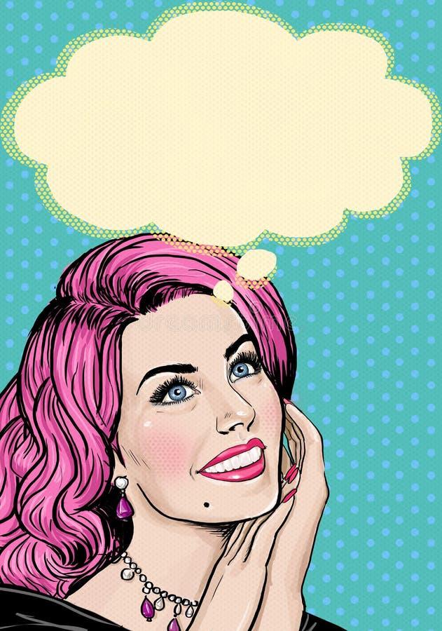 桃红色顶头女孩的流行艺术例证流行艺术背景的 流行艺术女孩 党邀请 生日贺卡eps10问候例证向量 忠告 皇族释放例证