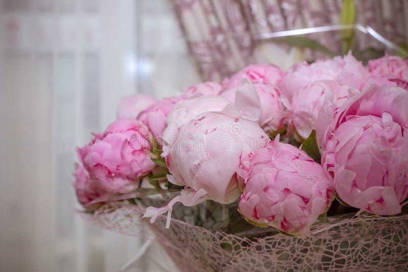 桃红色颜色关闭牡丹典雅的花束  美丽的花为任何假日 花卉商店 美好的桃红色peonie 免版税库存图片