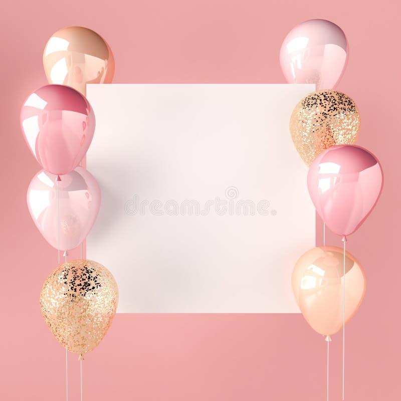 桃红色颜色和金黄气球有衣服饰物之小金属片和白色贴纸的 社会媒介的桃红色背景 3D为生日,党回报,我们 皇族释放例证
