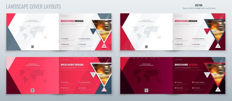 桃红色风景小册子模板布局、封面设计年终报告、杂志、飞行物或者小册子在A4与三角 向量例证