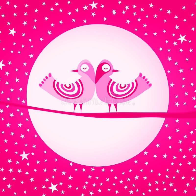 桃红色鸟爱情人节卡片 皇族释放例证
