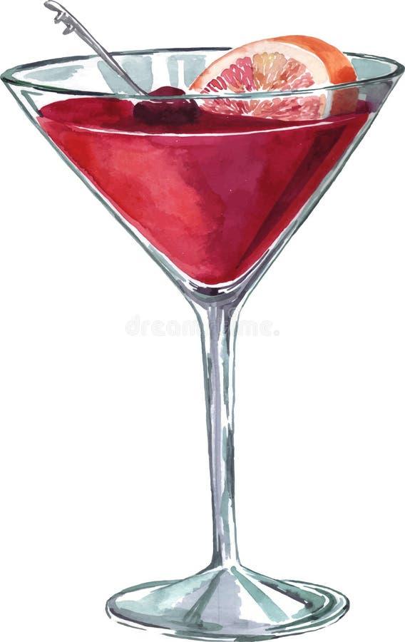 桃红色鸡尾酒杯用葡萄柚 手拉的水彩例证 皇族释放例证