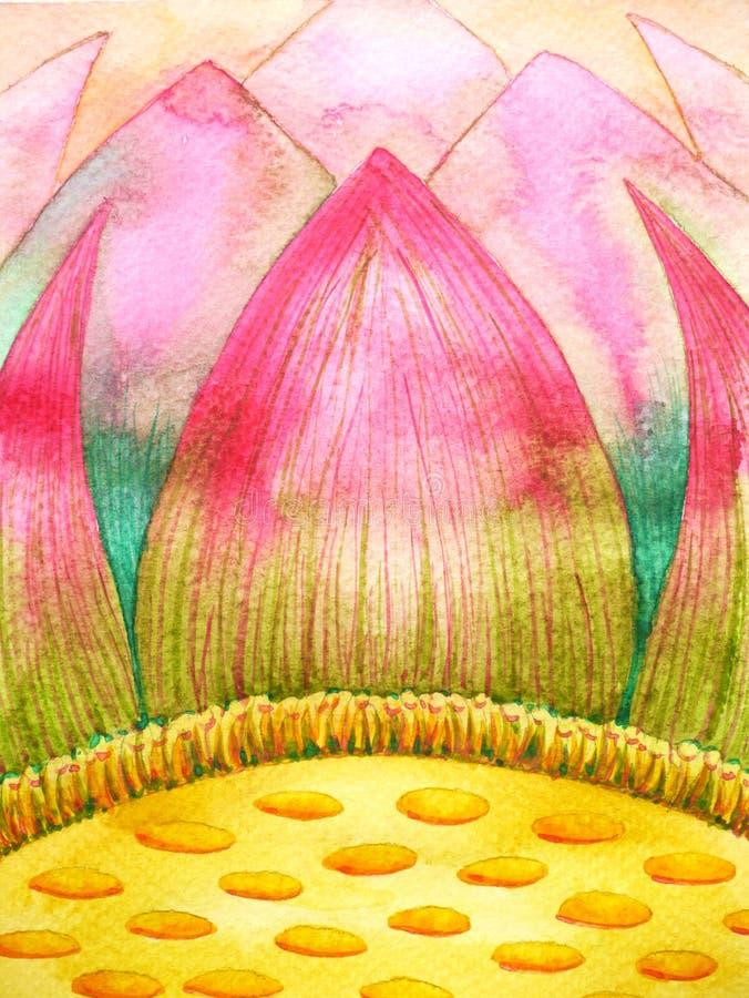 桃红色黄色莲花瓣水彩绘画例证设计 皇族释放例证