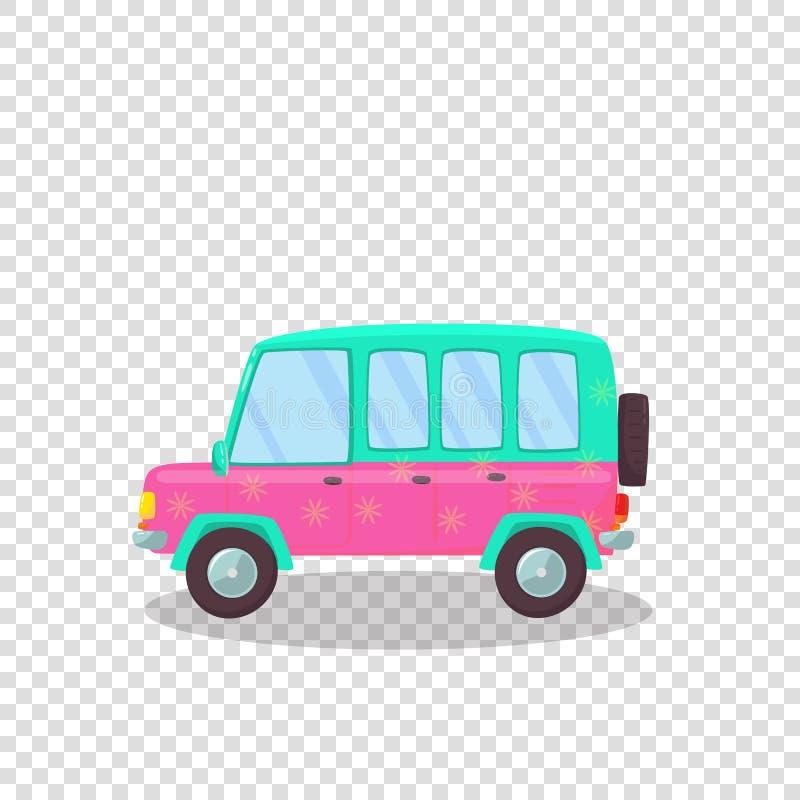 桃红色,有花的绿色五颜六色的现代汽车打印 皇族释放例证
