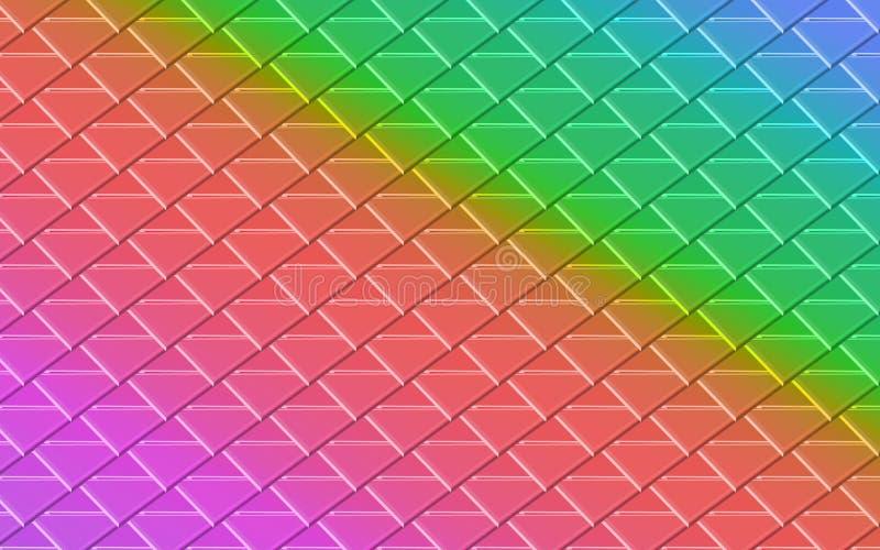 桃红色,橙色,绿色,蓝色金属三角在抽象背景中 皇族释放例证