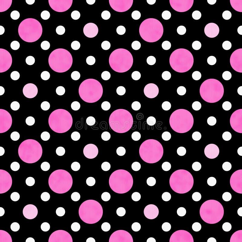 桃红色,空白和黑色圆点织品背景 皇族释放例证