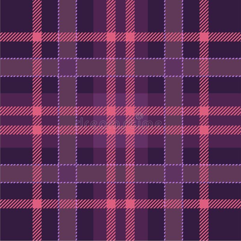 桃红色,紫色伐木工人-格子花布料,无缝的纹理 方格的苏格兰样式 皇族释放例证