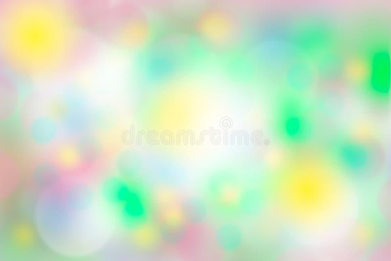 桃红色,背景的黄色,绿色白色bokeh 免版税库存照片