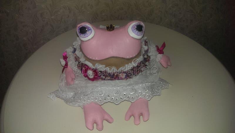 桃红色,青蛙,玩具,手工制造,葡萄酒 免版税库存照片