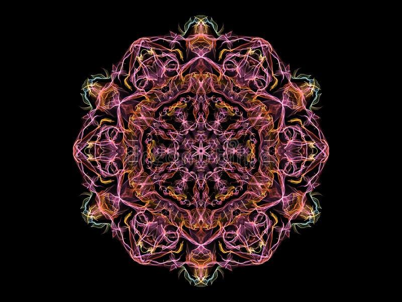 桃红色,黄色和蓝色抽象火焰坛场花,在黑背景的装饰花卉圆的样式 瑜伽题材 向量例证