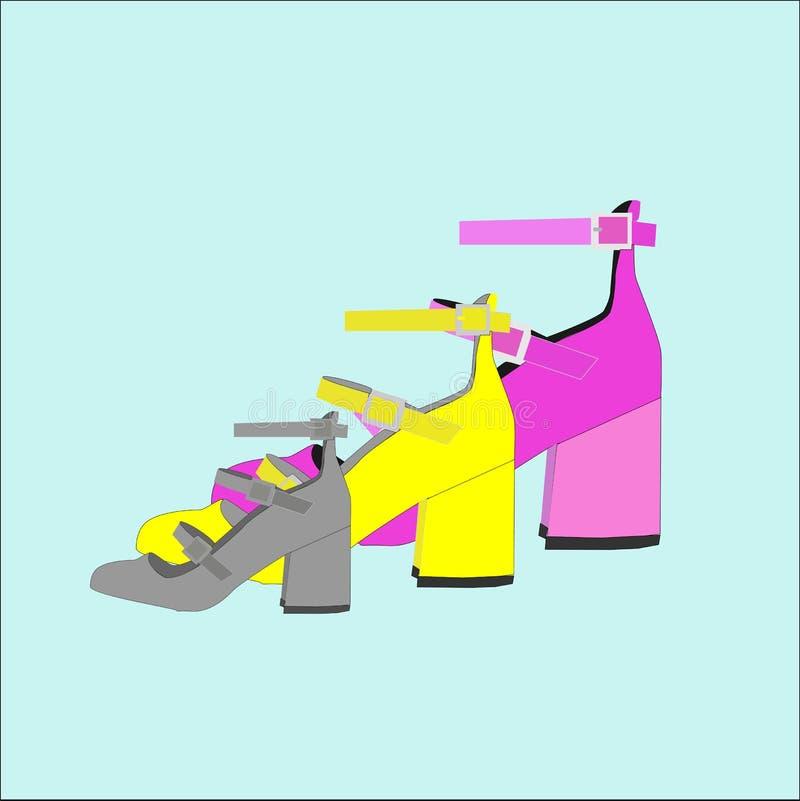 桃红色,黄色,灰色穿上鞋子例证 库存图片